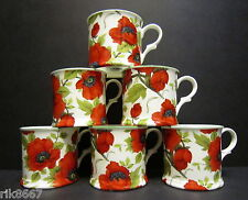 Set Of 6 Poppy W/B Chintz English Fine Bone China Mugs Cups  By Milton China