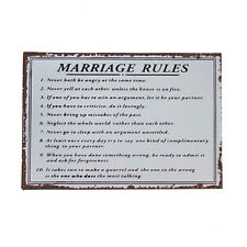 Marriage Rules Sign -Shabby Chic Vintage Style Metal Plaque - Wedding Gift Idea