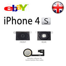 for Apple iPhone 4S (Black) Replacement Home Menu Button with Flex Cable Repair