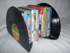 FUNKY RETRO VINTAGE  RECORD BOOKENDS / DVD HOLDER up cycled