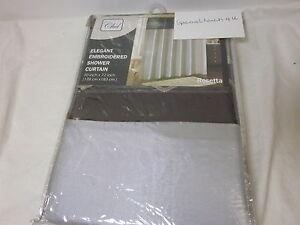 NEW CHD Rosetta Elegrant Embroidered Fabric Shower Curtain Gray & Chocolate