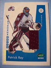 "2002-03 ITG Parkhurst ""Retro Memorabilia"" Game-Used Jersey # RM-6 Patrick Roy!"