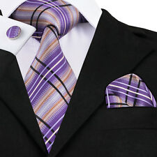 Classic Purple Stripe Mens Tie Plaid Check Silk Necktie Set Jacquard Woven C-457