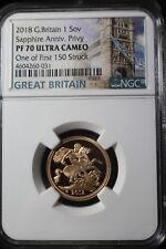 2018 Great Britain 1 Gold Soverign NGC PF 70 Ultra Cameo W/ COA