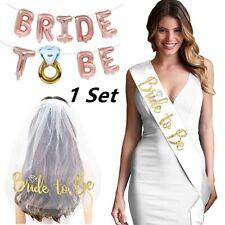 3pcs/set Bride To Be Bridal Shower Veil Sash Balloons Kit Wedding Hen Decoration