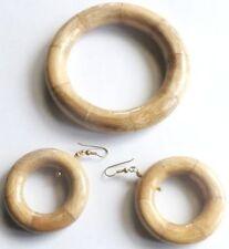 parure bijou vintage couleur bois bracelet rigide+b.o oreilles percées * 4758