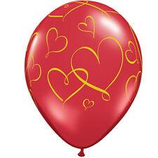 """San Valentín - 6 X Látex 11"""" globos (helio/air) (qualatex) Amor/corazones/rojo corazones Románticos (rojo W/corazones Dorados)(40862)"""