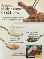 1969 Swanson Frozen TV Dinner Print Ad A Good Chicken Dinner Should Have