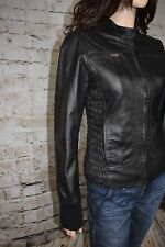 13a6395ecaf Italian Liu Jo Jeans Sexy Chic Fitted Ruched Black Leather Moto Biker Jacket  XS