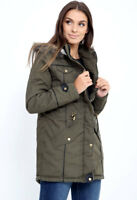 NEW Women Ladies Hooded Khaki Military Style Coat