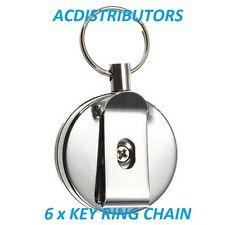 6 x Steel Recoil Retractable KeyRing Belt Pull Chain Reel, ID's Card Holder,Keys