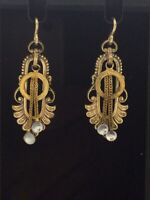 Antique Victorian Earrings Cabochon Glass Stones Gold 9CT 375 Ear Fixtures