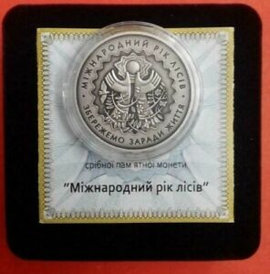 Ukraine , 5 UAH , International Year of Forests, silver coin 2011 year