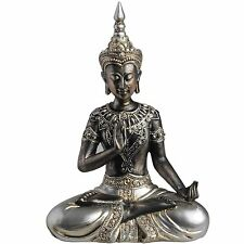 Buddha Statue Protection Posture Meditating Black Antique Silver Resin 22cm