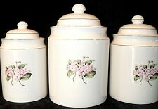 3 CERAMIC CANISTERS White Hydrangea FLORAL Home Storage Organization KITCHEN
