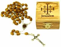 First Communion Rosary and Box, Bethlehem Olive wood (Jerusalem Cross - Laser)