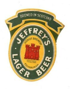 OLD BEER LABEL JEFFREY'S LAGER BEER EDINBURGH SCOTLAND VINTAGE ADVERTISING 1940S
