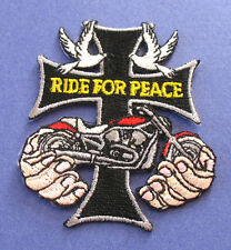 RIDE FOR PEACE CROSS CHOPPER DOVES CHRISTIAN BIKER IRON ON PATCH