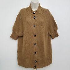 Vera Wang Womens Cardigan Medium Wool Acrylic Mohair Brown Short Sleeve Sweater
