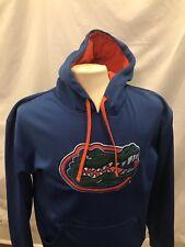 Majestic FLORIDA GATORS POLYESTER HOODIE Sweatshirt Men's Large Blue Sewn Logo