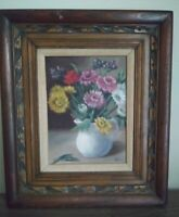 Vintage/Flowers In Vase/Oil/Matted/Ornate Wood Frame/Signed Mary Baxter/20x17""