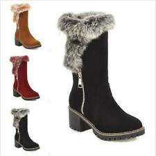 Women Mid-calf Boots Fur Furry Lined Chunky 6cm Heel Warm Winter Snow Shoes New