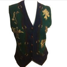 New Vintage Equestrian Susan Bristol Sweater Vest Size Small Hunter & Navy