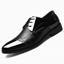 Men Lace Up Oxfords Leather Shoes Casual Pointed Toe Business Formal Dress Shoes