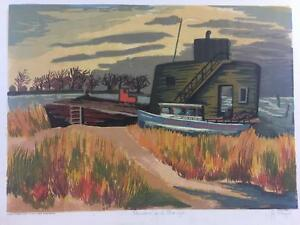 Color Block Print Joseph Rajer WPA Depression Art Signed Rushes and Barge 1930's