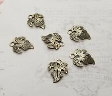 Small Oxidized Brass Leaf Charms (6) - BOS2249