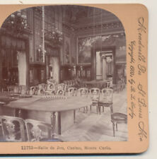 Interior Salle de Jeu Casino Monte Carlo & Fountain Keystone Stereoview 1900