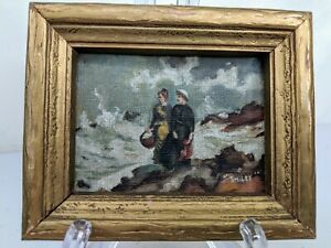 Antique Oil Painting Framed Signed Samuel Smiley Women at Shore Canvas Art Mini