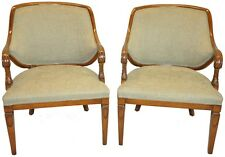 Pair of Regency Empire style Armchairs, Walnut wood, New Upholstery c. 1940's