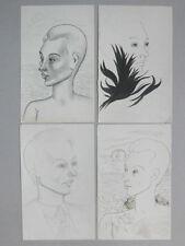 Olive TAMARI 4 Dessins originaux Luc ESTANG Portrait Toulon Ecole provençale