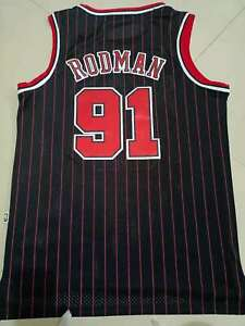 Men's Dennis Rodman #91 Chicago Bulls classical Swingman stripe Jersey  hardwood