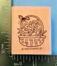 WICKER BASKET with FLOWERS  BOW Rubber Stamp by STAMPIN UP