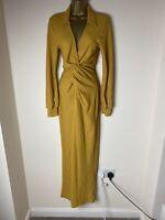 Asos Women Mustard Long Evening Front Split Dress Size UK 10