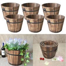 Set of 6 Rustic Wood Bucket Succulent Flower Pot Patio Plants Indoor Decor
