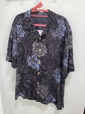 Tommy Bahama Mens L Black Hawaiian Silk Short Sleeve Button Down Shirt