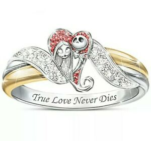 NIGHTMARE BEFORE CHRISTMAS JACK AND SALLY HEART RING SIZES 7 8 9 10 DISNEY
