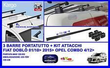 Barre Portatutto-Portapacchi - Portabagagli 135 Cm - Fiat Doblò Cargo 01/10>