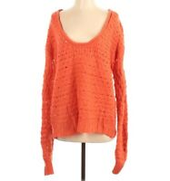 Free People Women's Open Knit Sweater Pullover Orange XS Wool Blend Long Sleeve