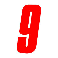 6 inch tall Red Race Number 9 racing numbers decals