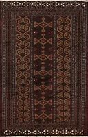 3x4 Tribal Geometric Balouch Oriental Area Rug Hand-Knotted Wool Kitchen Carpet