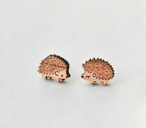 Cute wood hedgehog earrings handmade animal stud earrings gift girls womens