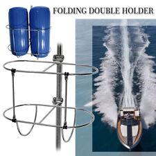 Stainless Folding Double Fender Holder Rack Mount For 9-1/2inch Boat Fenders