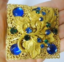 Fantastic Signed Miriam Haskell Haute Couture Runway Rhinestone Gold Brooch Pin