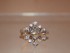 14K White Gold Diamond Wrap for Round Solitaire .25 tcw G/VS2 Ring Guard