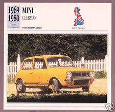 1969-1980 Mini Clubman (Austin Morris Cooper) Car Photo Spec Sheet French Card