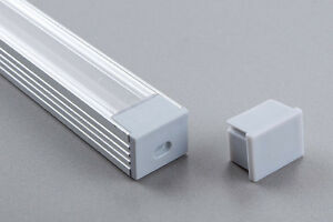 Eloxierte  1 Meter LED Aluminium Profile GLL-04  +  Abdeckung + Endkappe